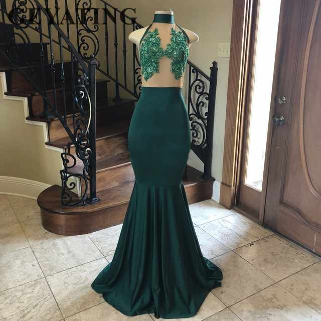 147c2920f535 ... Hunter Green Mermaid African Prom Dresses 2019 High Neck Beaded Lace  Appliques Long Evening Party Gowns ...