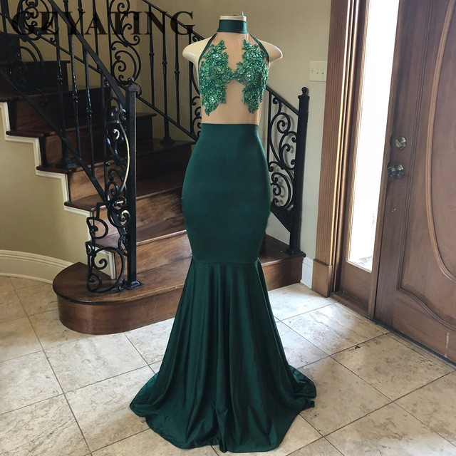 Detail Feedback Questions about Hunter Green Mermaid African Prom Dresses  2019 High Neck Beaded Lace Appliques Long Evening Party Gowns Robe De  Soiree Cheap ... 75c5a29be477
