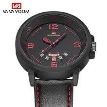 купить Mens Watches Top Luxury Brand Waterproof Sport Wrist Watch Week Date Display Quartz Military Genuine Leather Relogio Masculino дешево