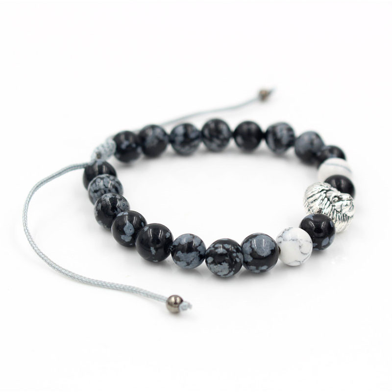 Fashion High Quality Snowflake Stone Bead Bracelet Weave Braided Silver Lion Head Charm Brand Macrame Bracelet Men 39 s Jewelry in Charm Bracelets from Jewelry amp Accessories