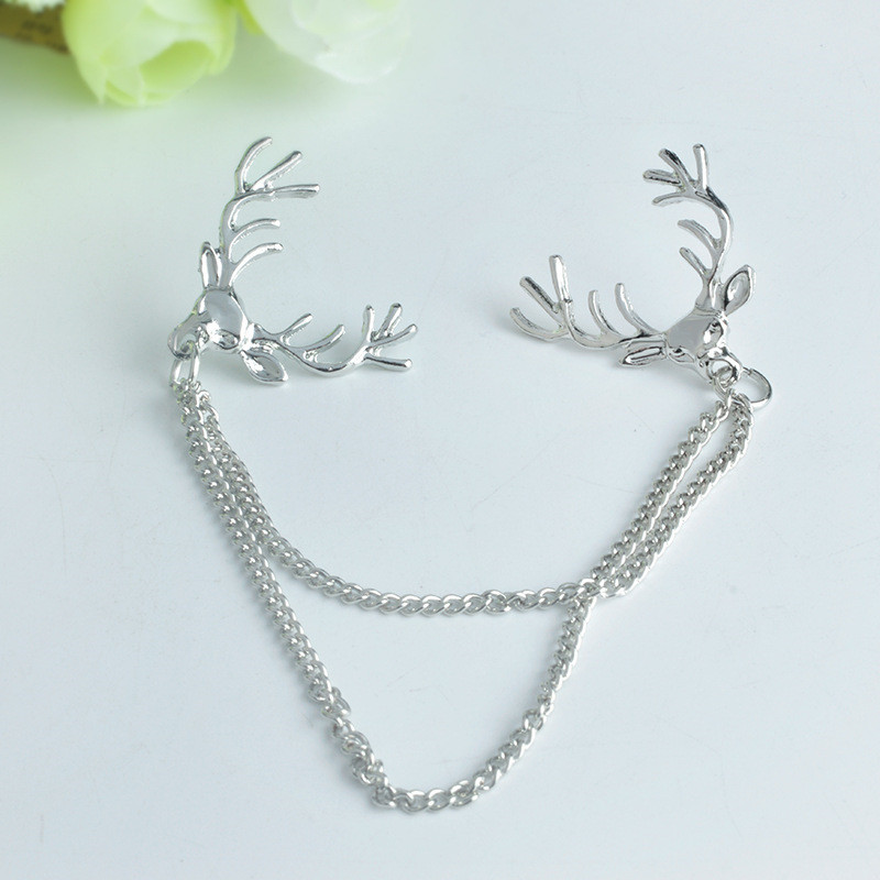 Simple Fashion Women Collar Brooches Elks Head Double Chain Ladies Clothing Solid Color Pin Brooch Jewelry Accessories M