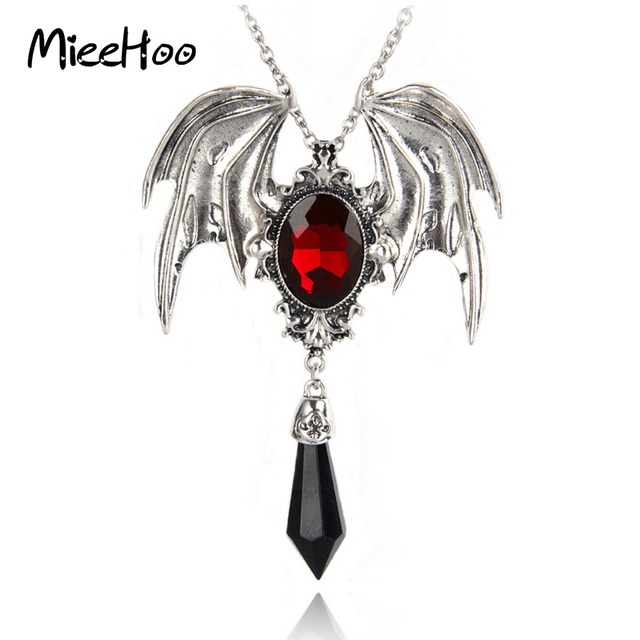 mieehoo hot sale new arrival gothic halloween necklace red crystal vampire vintage bat pendant for men