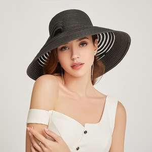 Image 3 - 2019 New Style Women Summer Beach Hat Bow knot Accent Ladies Striped Wide Brim Floppy Sun Hat  Kentucky Derby Paper Straw Hat
