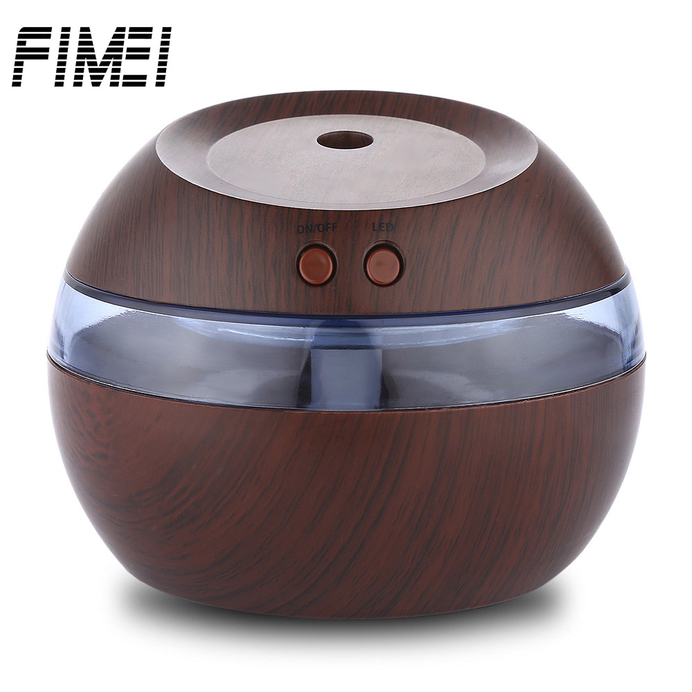 FIMEI 290ml Diffuser USB Essential Oil Diffuser Ultrasonic Air Humidifier Aroma Wooden Umidificador Humidificador LED Light