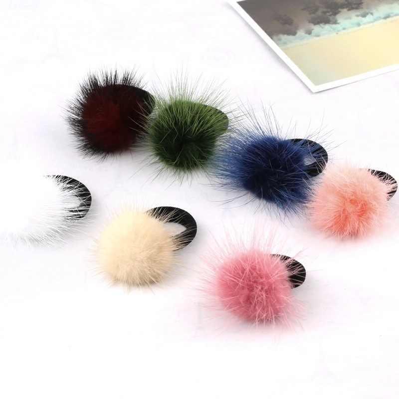 Novas Crianças Coreanas Mink Cabelo de Cabeleireiro Clipe Hairpin Pelúcia Japonês Edição Coreana Linda Bola Peluda Hairband