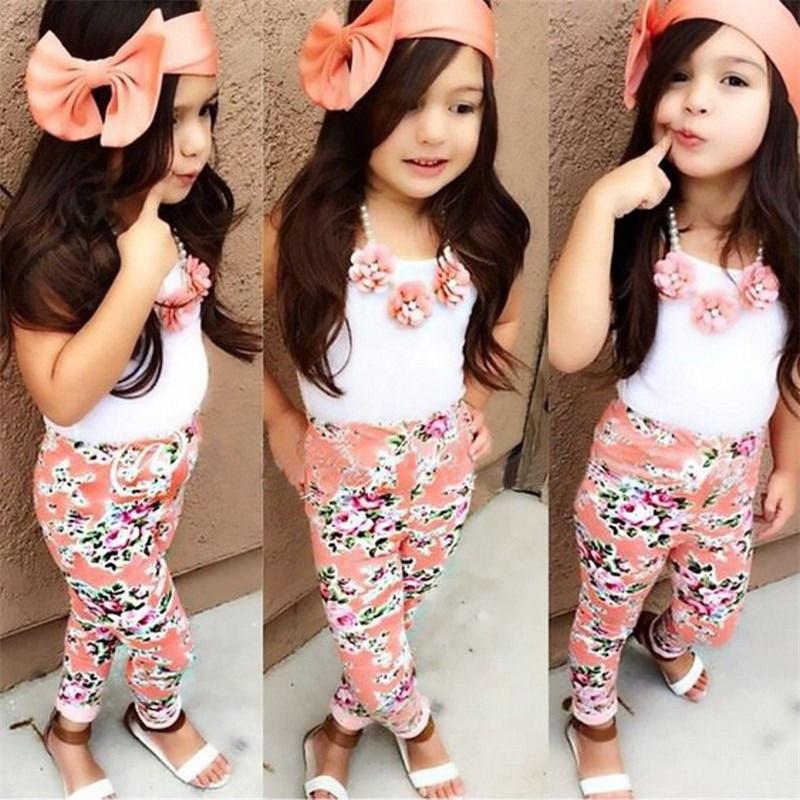 3PCS Floral Kids Baby Girls Sets Clothes Sleeveless Tops T-shirt + Floral Pants +Hairband Summer Sets 3Pcs Set