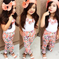3PCS Floral Kids Baby Girls Sets Clothes Sleeveless Tops T-shirt + Floral Pants +Hairband Summer Sets 3Pcs Set