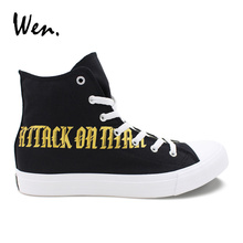 Wen Black Canvas High Top Sneakers Custom Design Hand Painted Cosplay Shoes Attack on Titan Survey Corps Plimsolls Teens Zapatos