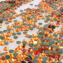 ZOTOONE Orange Hotfix Resin Nail Rhinestones Applique Flatback For Clothing Crafts Fabric Strass Crystal Decoration