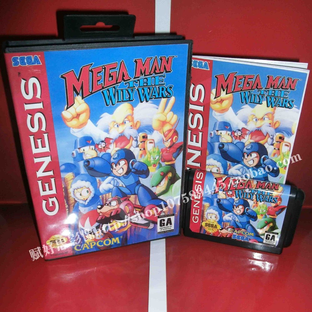 Mega man the wily wars Game cartridge with Box and Manual 16 bit MD card for Sega Mega Drive for Genesis mickey mouse castle of illusion