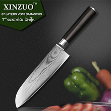 "XINZUO 67 layers 7 "" santoku knife Japanese VG10 Damascus kitchen knife Japanese chef knife ebony wood handle free shipping"