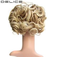 DELICE Kort Curly Synthetic Blonde Burg Stor Bun Chignon Hårförlängning Med Två Plast Kombiner Clip In Hairpiece