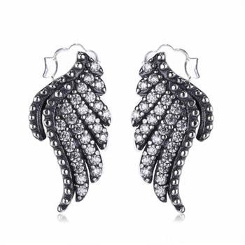 f1fd9687132e 925 alas de Ángel de plata esterlina CZ oreja escalador pendientes para  mujeres joyería Orecchini Aros Aretes Ear Jacket pendientes