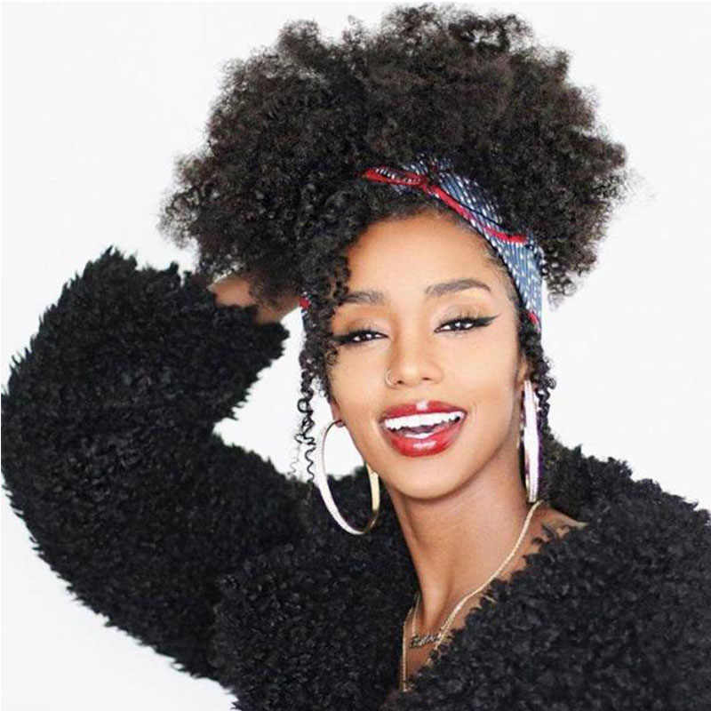 Afro Kinky Curly Ponytail Extensions Remy Hair Pieces For Women