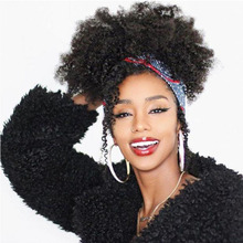 Afro Kinky Curly Ponytail Extensions Remy Hair Pieces For Women Natural Black Clip In Ponytails Drawstring 100% Human Hair