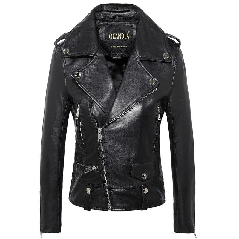 Livraison gratuite, Véritable en cuir femme vestes cintrées. mode motorbiker taille asie femelle veste en peau de mouton, grande taille manteau en cuir