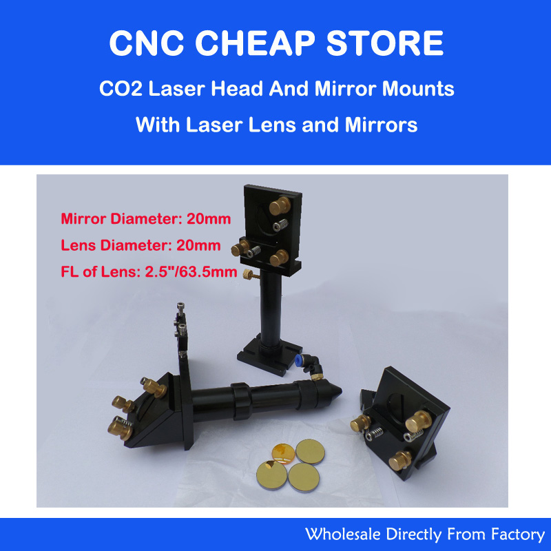 CO2 Laser Head + 20mm Mirror + Znse Focus Focal Lens Integrative Mounts Optical Part aluminum co2 laser head set dia 20mm znse focal focus lens fl 50 8mm integrative mount dia 20mm si reflective mirror