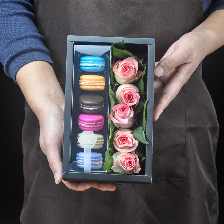 Flower And Macaron 5pcs Valentine's Day Design Paper Box Party Gift Packaging Wedding Christmas Use Storage Boxes