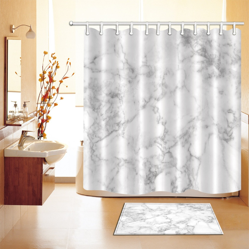 Gray White Marble Texture Fabric Shower Curtain Set Bathroom Mat Decor w// Hooks