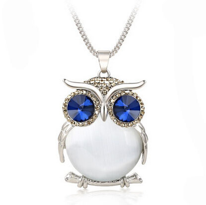 2017 new Trendy Owl Necklace Fashion Rhinestone Crystal Jewelry Statement Women Necklace Silver Chain Long Necklaces & Pendants 1