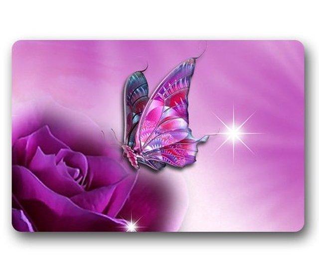 memory home butterfly on purple rose custom outdoor indoor doormat
