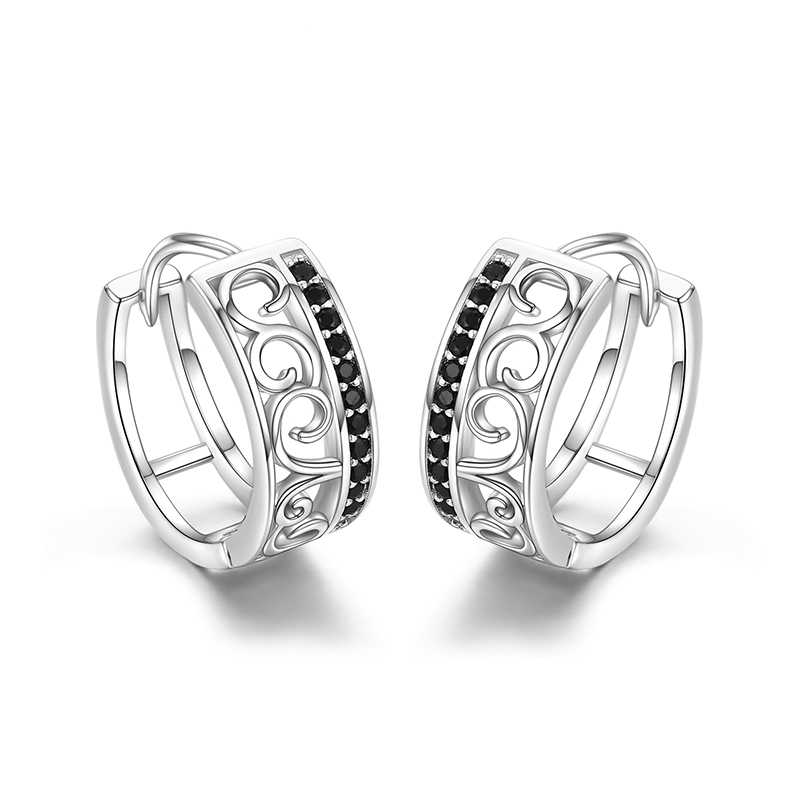 925 Sterling Silver Black Spinel Trendy Engagement Hoop Earrings for Women Fine Jewelry Bijoux Pendientes Mujer Moda 2018  I030