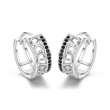 925 Sterling Silver Black Spinel Trendy Engagement Hoop Earrings for Women Fine Jewelry Bijoux Pendientes Mujer Moda 2019  I030
