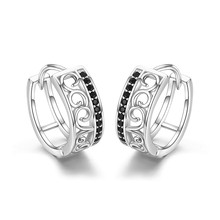 925 Sterling Silver Black Spinel Trendy Engagement Hoop Earrings for Women Fine Jewelry Bijoux Pendientes Mujer Moda 2018 I030(China)