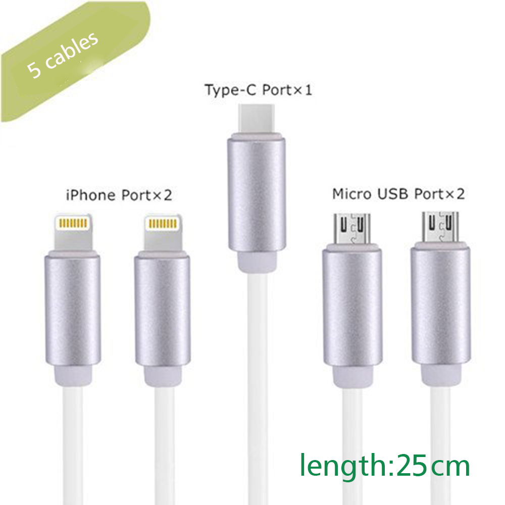 Evfun 5 Short Cables Combination for Charging Station 25cm Micro USB Type c Data Cables for Android iPhone Huawei Fast charging