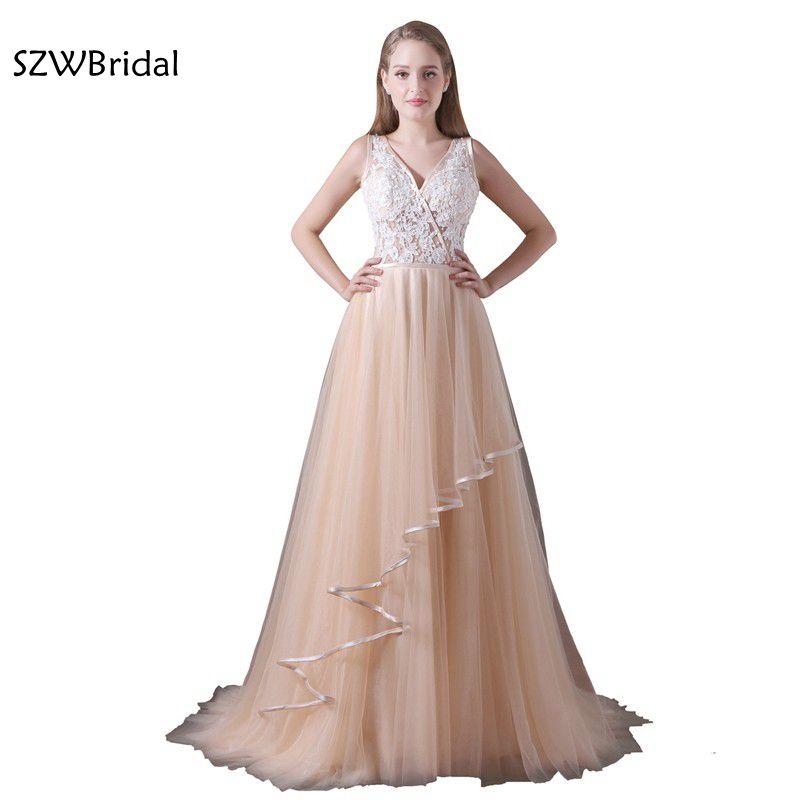 Abendkleider Lace   Evening     dress   V Neck Sexy Backless A-Line   Evening   gown Vestido de festa abiye   evening   party   dress
