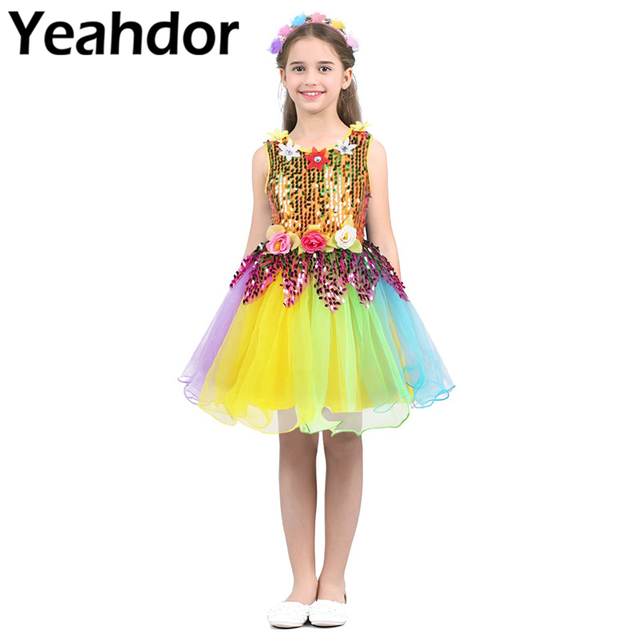 Flower Girls Dress Kids Girls Round Neck Sleeveless Sequined Flower Rainbow Tulle Dress Outfit with Hair Hoop Set For Wedding