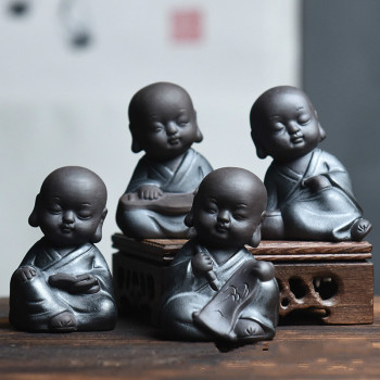 Zen small monk statue creative buddha tea pet  room decoration
