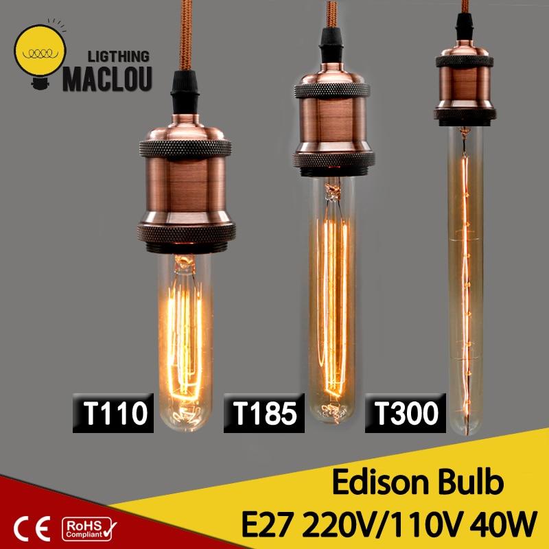 MACLOU T110 T185 T300 Vintage 110V 220V Edison Bulb E27 Edison lamp Retro Edison Bulb 40w Home decoration bulb chandelier