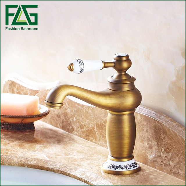 Free Shipping Clic Concise Bathroom Faucet Antique Bronze Finish Br Basin Sink Faucets Single Handle Water
