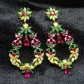 Festa de Casamento de luxo De Jóias de Noiva Brinco Banhado A Ouro Cúbicos de Zircônia Brincos Grandes Com Pedras Multicolor Para As Mulheres