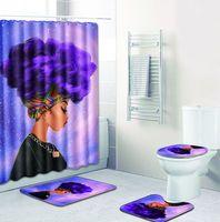 Carpet Bathroom Foot Pad African Woman Bath Mat and Shower Curtain Set Four piece Suit PVC Toilet Toilet Seat Covers Home Decor