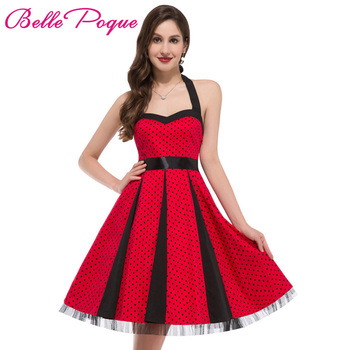 4f07f030ecf Fashion Summer Dress 2017 Sexy Halter Robe Polka Dots Pinup Rockabilly 50s  60s Vintage Dress Vestidos Big Size Women Dresses