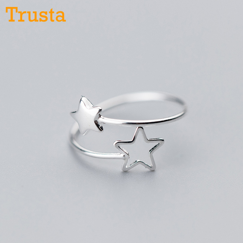 Trusta 2018 New 100% 925 Sterling Real Silver Fashion Women 2 Star Rings Size 5 6 7 Wonderful Gift For Girls Kids Ladys DS587
