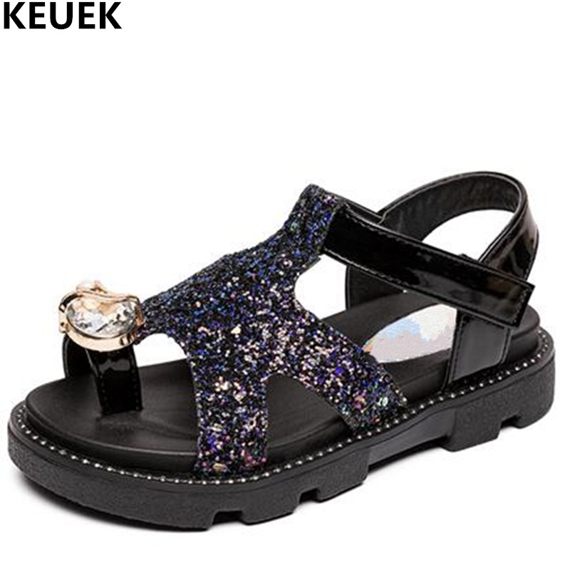 New Summer Shoes Girls Sandals Princess Children Baby Flat Fashion Rhinestone Glitter Open Toe Sandals Kids Toddler Party 019