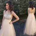 Honey Qiao 2017 New Prom Gowns Floor Length Backless Sleeveless Evening Gowns Beaded Scoop Tulle A Line Formal Party Dresses