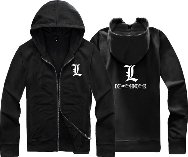 Unisex winter hood Death Note L sweatshirt cardigan zipper hoodies jackets