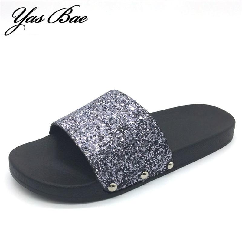 Women Luxury Designer Fashion Flat Beach Bling Slide Sparkle Female Sexy Party Glitter rasteirinha femme Slipper Lady House Shoe