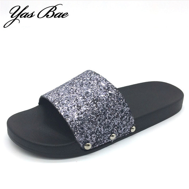 Women Luxury Designer Fashion Flat Beach Bling Slide Sparkle Female Sexy  Party Glitter rasteirinha femme Slipper fb4e57c1b8d1