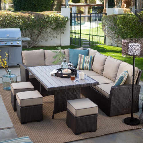 Factory direct sale Outdoor Living Furniture All Weather Wicker Sofa Sectional Patio Dining Set