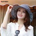 iEASYSEXY Brand 2017 Korean Style Striped Summer Sunscreen Sunshade Cool Sun Hat Women Adult Casual Solid Montera With Bowknot