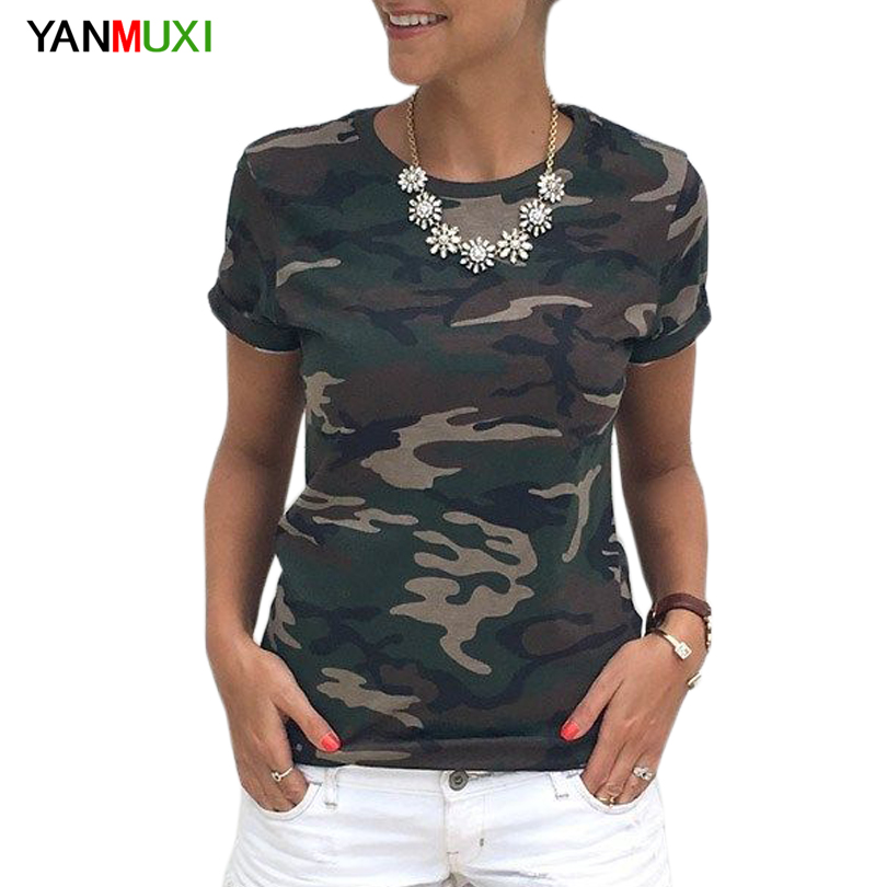 2017 female t-shirt new camouflage printing military shirt women camisa feminina street fashion short sleeve summer cotton top
