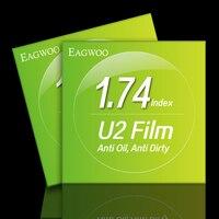 1.74 индекс рецепту Оптические стёкла с U2 Плёнки супер тонкий асферических Очки Оптические стёкла анти нефти анти грязный легко чистить шире