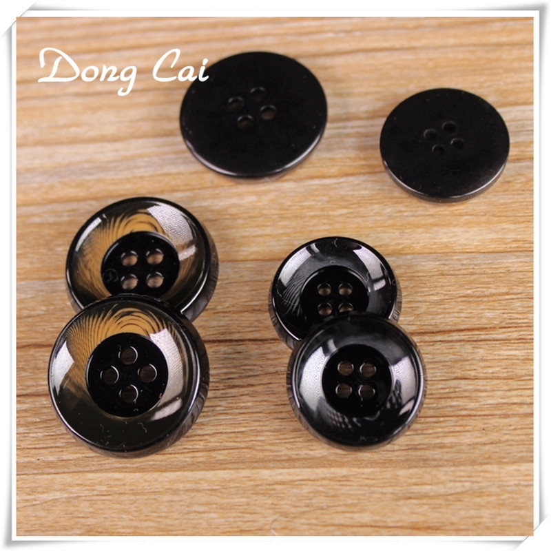 10pcs/lot Black 4Holes Men's coat resin <font><b>button</b></font> sewing clothes accessories Trench Clothing Overcoat <font><b>Buttons</b></font> DIY 25MM <font><b>30MM</b></font> image