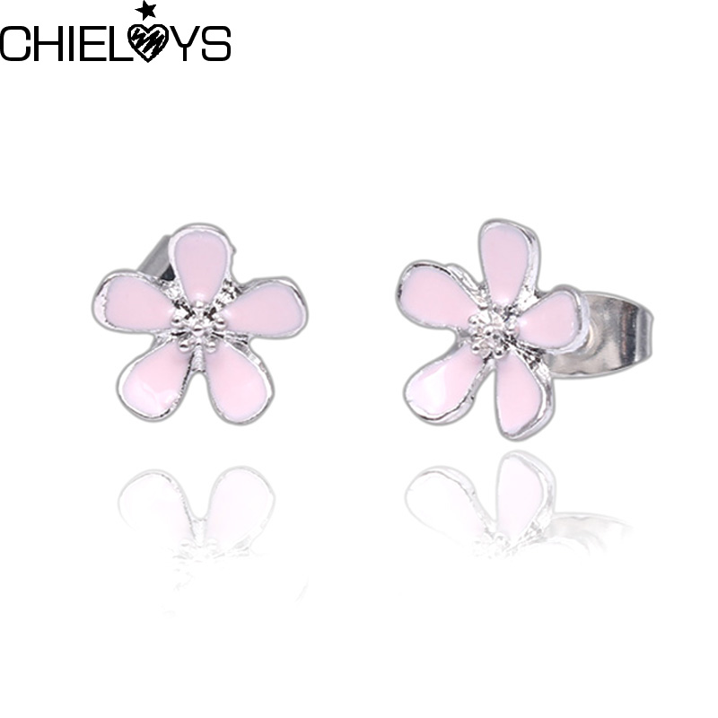91788e447 Detail Feedback Questions about CHIELOYS Classic Pink Cherry Blossom Flower  Stud Earrings Valentine's Day Gift Pink Flower Statement Pandora Earrings  Female ...