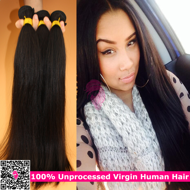 100 Unprocessed Raw Indian Remy Straight Human Hair Weave 3 Bundles